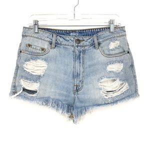 BDG Sz 30 High Rise Dree Cheeky Shorts Distressed